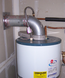 A Direct Vent Water Heater With Exiting Through Side Wall