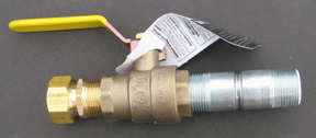 Ball valve drain assembly with PEX-lined nipple, hose adapter and brass cap